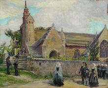 Adolphe COSSARD - Pintura - Eglise de LOCQUEMEAU - TREDREZ  -BRETAGNE