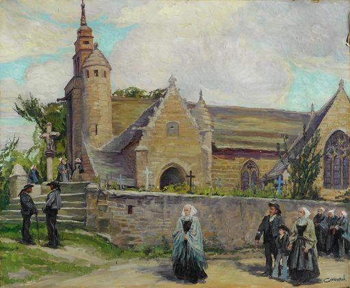 Adolphe COSSARD - Painting - Eglise de LOCQUEMEAU - TREDREZ  -BRETAGNE