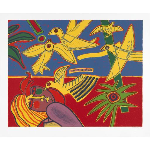 CORNEILLE - Estampe-Multiple - Vol d'oiseaux