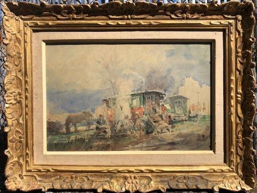 Henri PROST - Disegno Acquarello - Roulottes et et feu de cheminée dans la campagne
