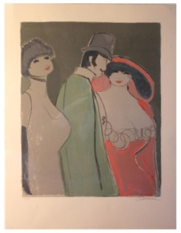 David SCHNEUER - Grabado - Herr mit zwei Damen