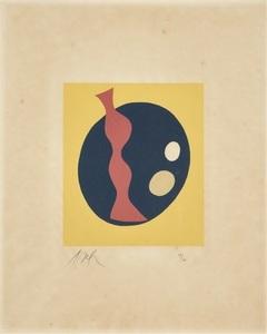 Hans ARP - Print-Multiple - COMPOSITION JUANE NOIR ET ROUGE