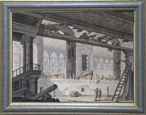 "Andreas HARDTER - Drawing-Watercolor - ""Inspection of Deserted Palace"", late 18th Century"