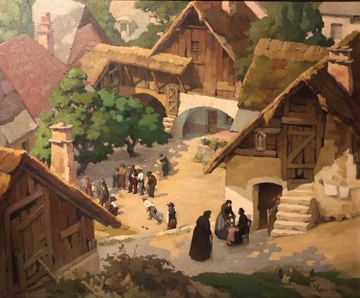 Victor GUERRIER - Painting - La pétanque au village