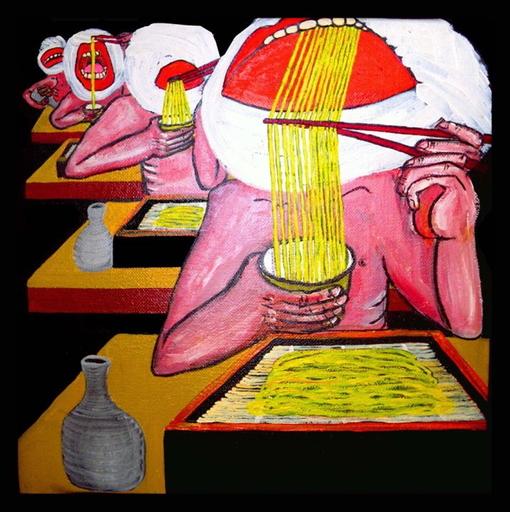 Kawamura GUN - Painting - Shy nudists eat Zaruzoba as you see