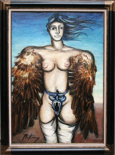 Franz PRIKING - Pittura - Femme Ailée