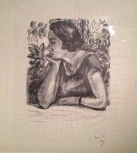 Henri MATISSE (1869-1954) - Visage de Profil repossant sur un Bras paravent louis XIV