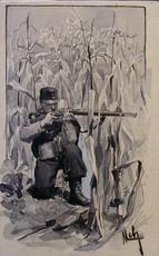 Felician VON MYRBACH-RHEINFELD - Drawing-Watercolor - Soldat mit der Waffe im Anschlag in Maisfeld