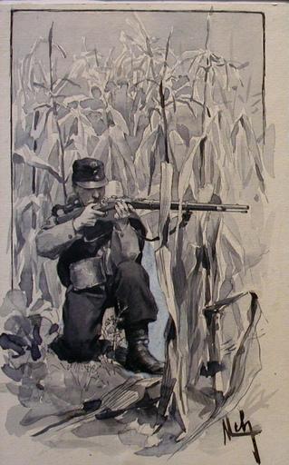 Felician VON MYRBACH-RHEINFELD - Dibujo Acuarela - Soldat mit der Waffe im Anschlag in Maisfeld