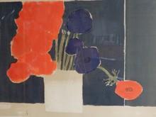 Bernard CATHELIN - Grabado - Bouquet d'anémones sur fond noir,
