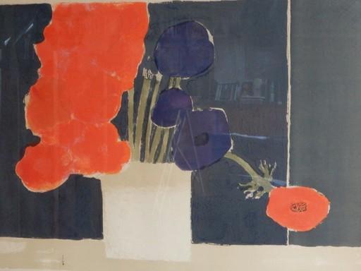 Bernard CATHELIN - Print-Multiple - Bouquet d'anémones sur fond noir,