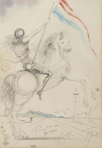Salvador DALI - Drawing-Watercolor - Cavalier avec bannière française