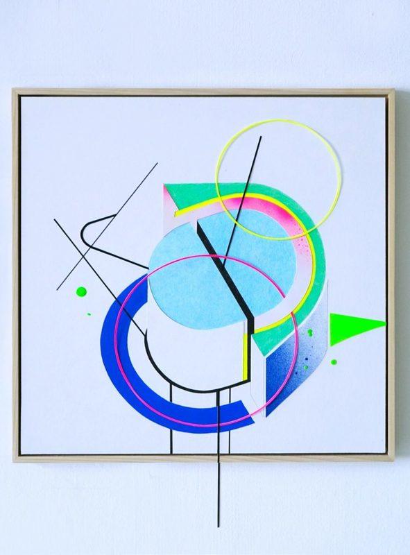 Anne DE NANTEUIL - Disegno Acquarello - « Spacepolygone/The Fall »