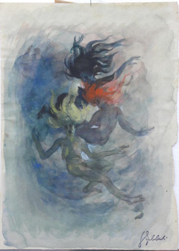 Georges Guido FILIBERTI - Dessin-Aquarelle - la ronde des trois grâces
