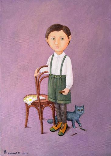 Roman ANTONOV - Peinture - Boy with pencils