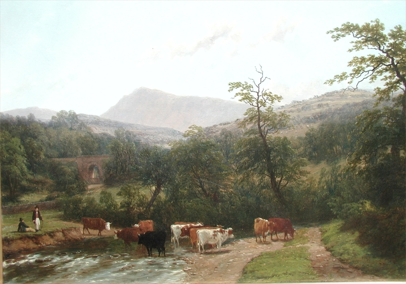Thomas BAKER OF LEAMINGTON - Painting - Cattle Watering
