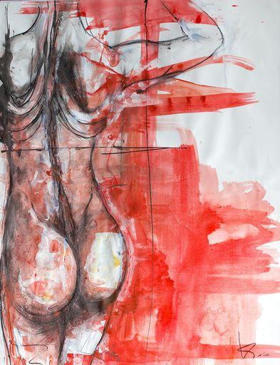 Guillaume KALT - Dibujo Acuarela - Femme de dos    (Cat N° 6146)