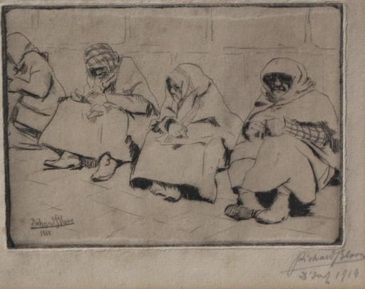 Richard BLOOS - Grabado - Vier sitzende Frauen