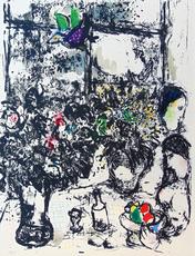 马克•夏加尔 - 版画 -  Still Life with Bouquet | Nature Morte au Bouquet