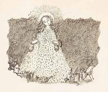 Oskar LASKE - Dibujo Acuarela - Der weiße Mantel