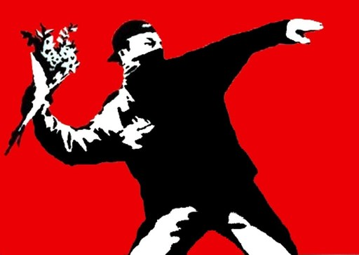 BANKSY - Stampa-Multiplo - Flower Thrower/Love Is In The Air