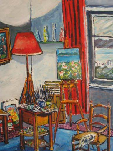 Christian HAREL-COURTES - Peinture - L'atelier de l'Artiste,1976.