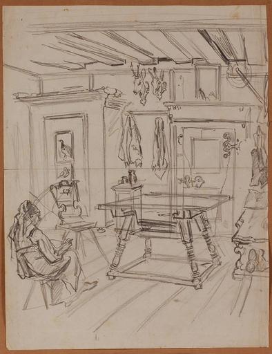 "Karl I SCHWENINGER - Dibujo Acuarela - ""Interior Study"", Drawing"