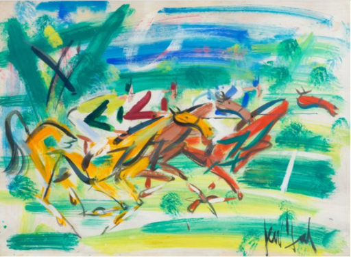 GEN PAUL - Drawing-Watercolor - Course équestre