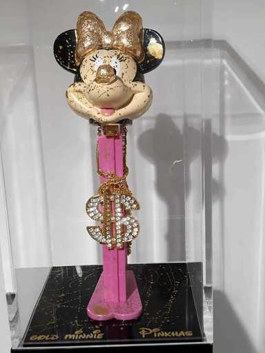 "PINKHAS - Scultura Volume - GOLD Minnie ""Combien tu PEZZ"""