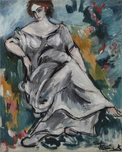 莫里斯•德•弗拉芒克 - 绘画 - Femme assise au jardin