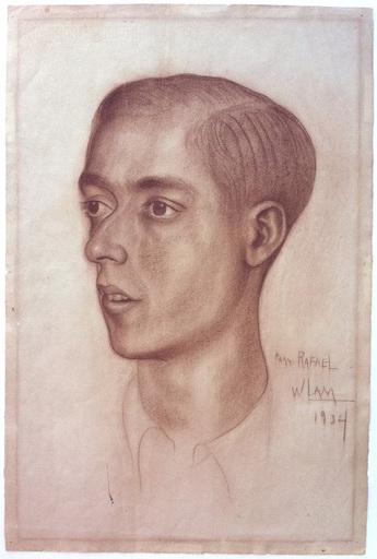 Wifredo LAM - Drawing-Watercolor - Retrato de Rafael Barrera