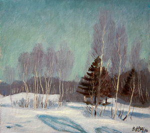 Valeriy NESTEROV - Painting - Winter landscape