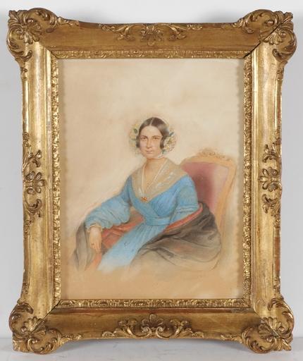 "Alois VON ANREITER - Miniatura - ""Portrait of a Young Lady"", 1842, Watercolor"