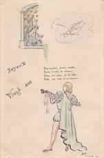 Elie LASCAUX - Dibujo Acuarela - Joyeux Vingt ans