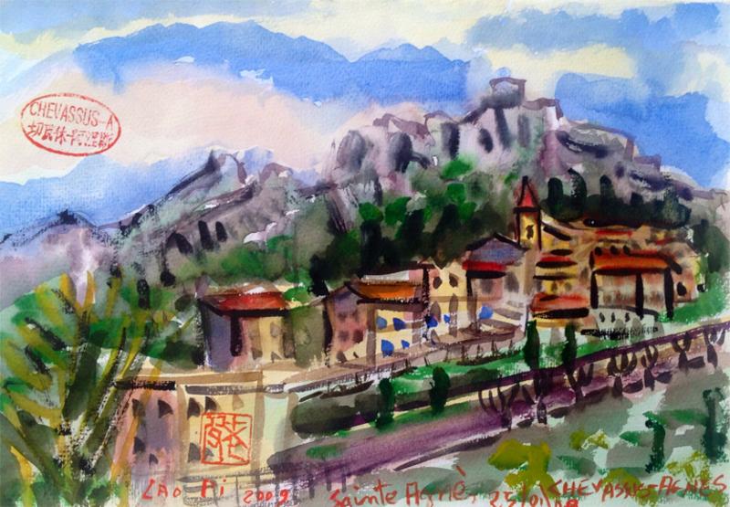 Jean-Pierre CHEVASSUS-AGNES - Peinture - SAINTE-AGNES Village perché dans le (06) FRANCE