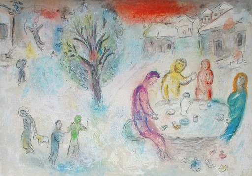 Marc CHAGALL - Grabado - The Meal at Dryas's House