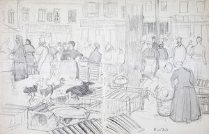 Raoul DUFY - Drawing-Watercolor - Le marché à Honfleur