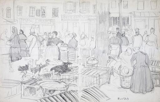 拉奥尔•杜飞 - 水彩作品 - Le marché à Honfleur