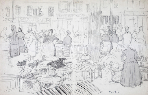 Raoul DUFY - Drawing-Watercolor - Le marché à Honfleur