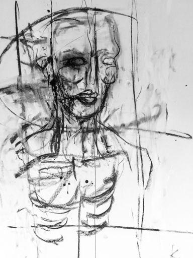 Guillaume KALT - Dibujo Acuarela - Buste d'Homme    (Cat N° 6156)