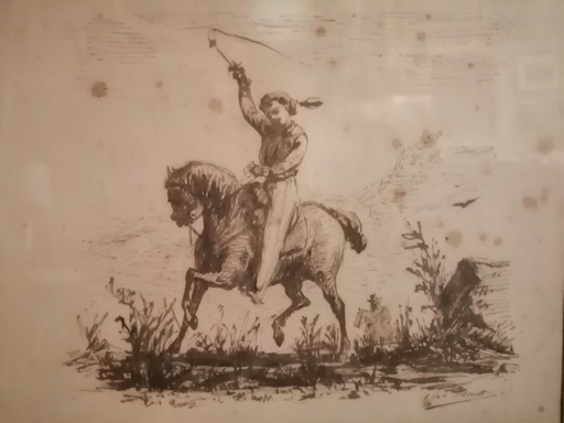Alphonse MOUTTE - Dibujo Acuarela - Le Fauconnier