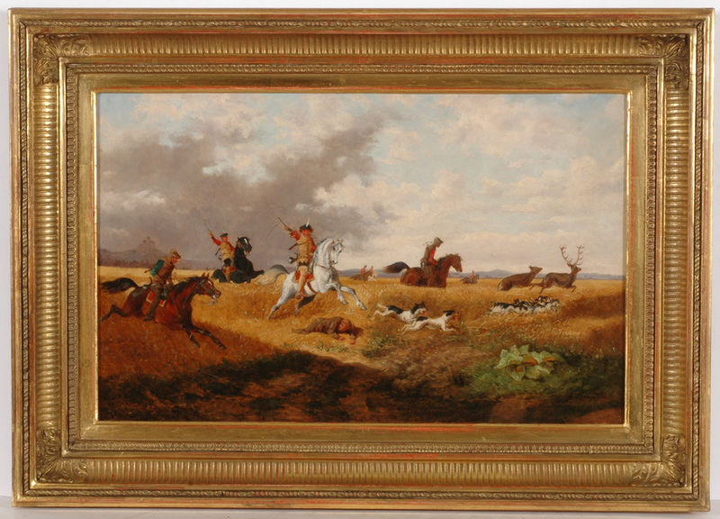 """Alexander II VON BENSA - Pintura - """"Deer hunting in the Middle Ages"""", oil on panel, 1850/60s"""