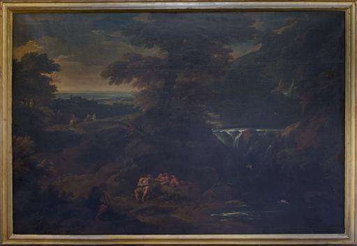 Pieter II MULIER - Pintura - Paysage  avec bergers au repos prés d'une chute d'eau