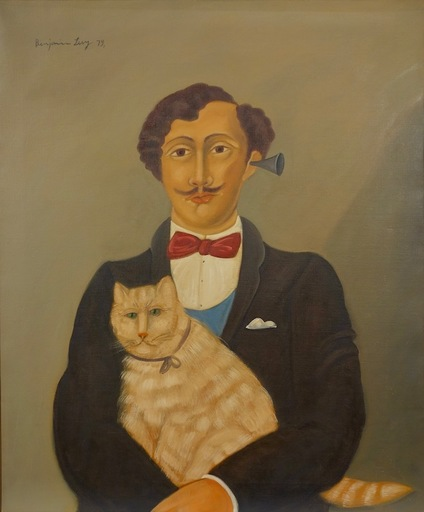 Benjamin LEVY - Pittura - Dapper Man with Cat