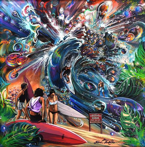 Rémi BERTOCHE - Painting - Waves Warriors