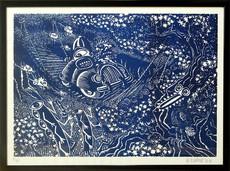 Hervé DI ROSA - Print-Multiple - En Traversant le Pont - Bleu
