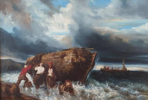 Eugène ISABEY - Gemälde - Fishermen pushing a boat