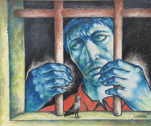 """Raymond DIERICKX - Dibujo Acuarela - """"LE PRISONNIER ET L'OISEAU"""""""