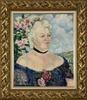 Georges MANZANA-PISSARRO - Pintura - Portrait de Femme sur Fond de Paysage et de Roses