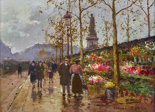 Édouard CORTES - Painting - Marché aux fleurs